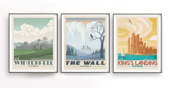 "Game of Thrones poster set, <a href=""https://www.etsy.com/listing/513026007/game-of-thrones-set-retro-travel-poster?utm_sourc"