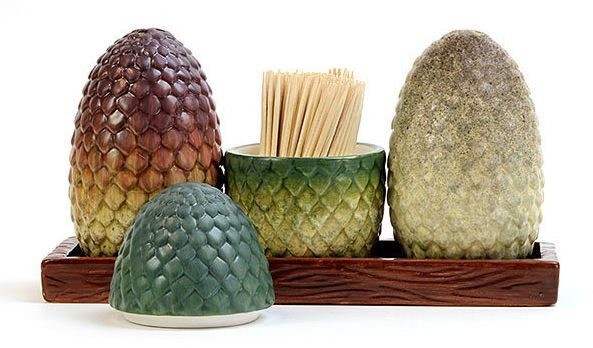 "Dragon egg salt and pepper shakers, <a href=""http://www.thinkgeek.com/product/jqgu/"" target=""_blank"">$24.99 at Thinkgeek</a>"