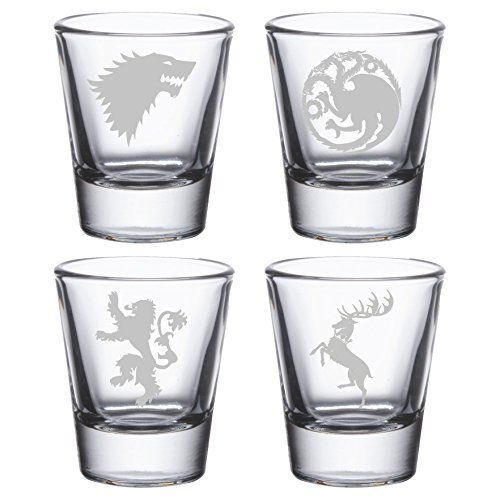 "Etched shot glasses, <a href=""https://www.amazon.com/Game-Thrones-Etched-Shot-Glasses/dp/B01B36FCWA/ref=sr_1_5?amp=&ie=UTF8&k"