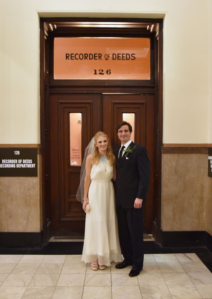 The bride wore a handmade dress by a designer they met during a trip to Seattle, while the groom wore his favorite suit.