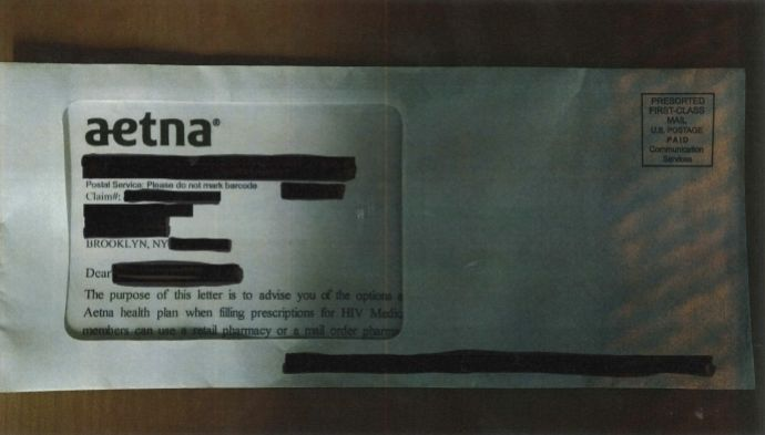 Lawyers: Aetna envelope window reveals Pa., NJ patients' HIV status