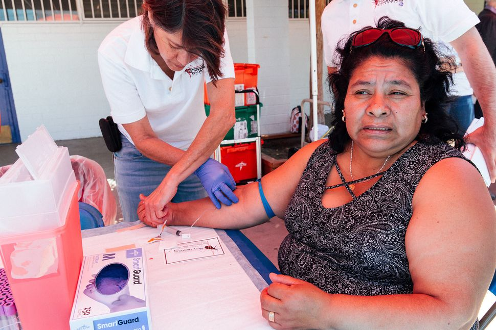 The Center of Excellence for Chagas Disease collects blood samples at an open-air festival for a community of people from Oax