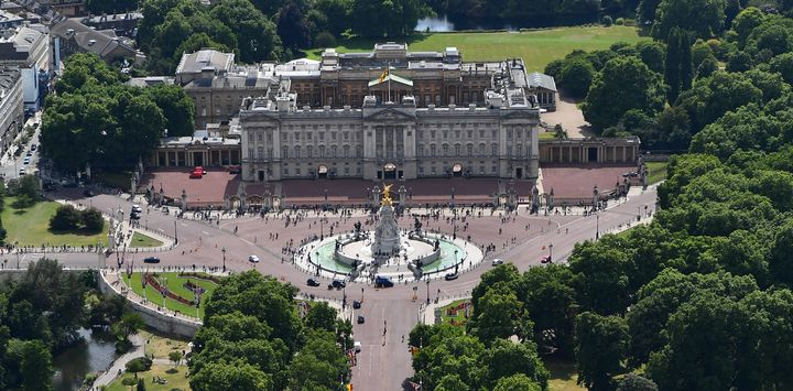 An aerial view of The Mall leading to Buckingham Palace on July 12, 2017 in London, England.