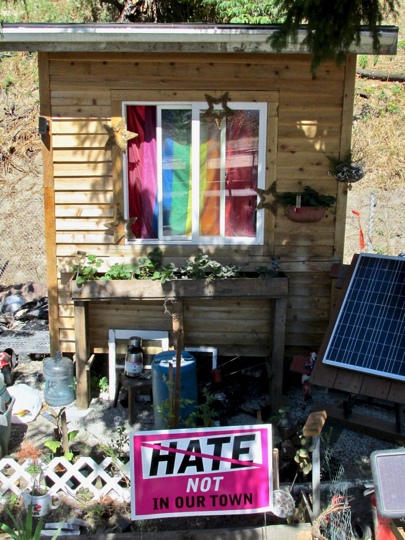 A home in a houseless community communicating anti-hate during the Charlottesville events.