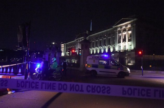 A police cordon outside Buckingham Palace on Friday