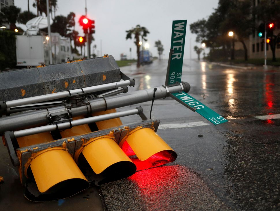 Traffic lights lie on a street after being knocked down in Corpus Christi.