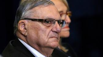 Sheriff Joe Arpaio is pictured waiting for Republican presidential nominee Donald Trump during a campaign event in Phoenix, Arizona, U.S. October 29, 2016. REUTERS/Carlo Allegri