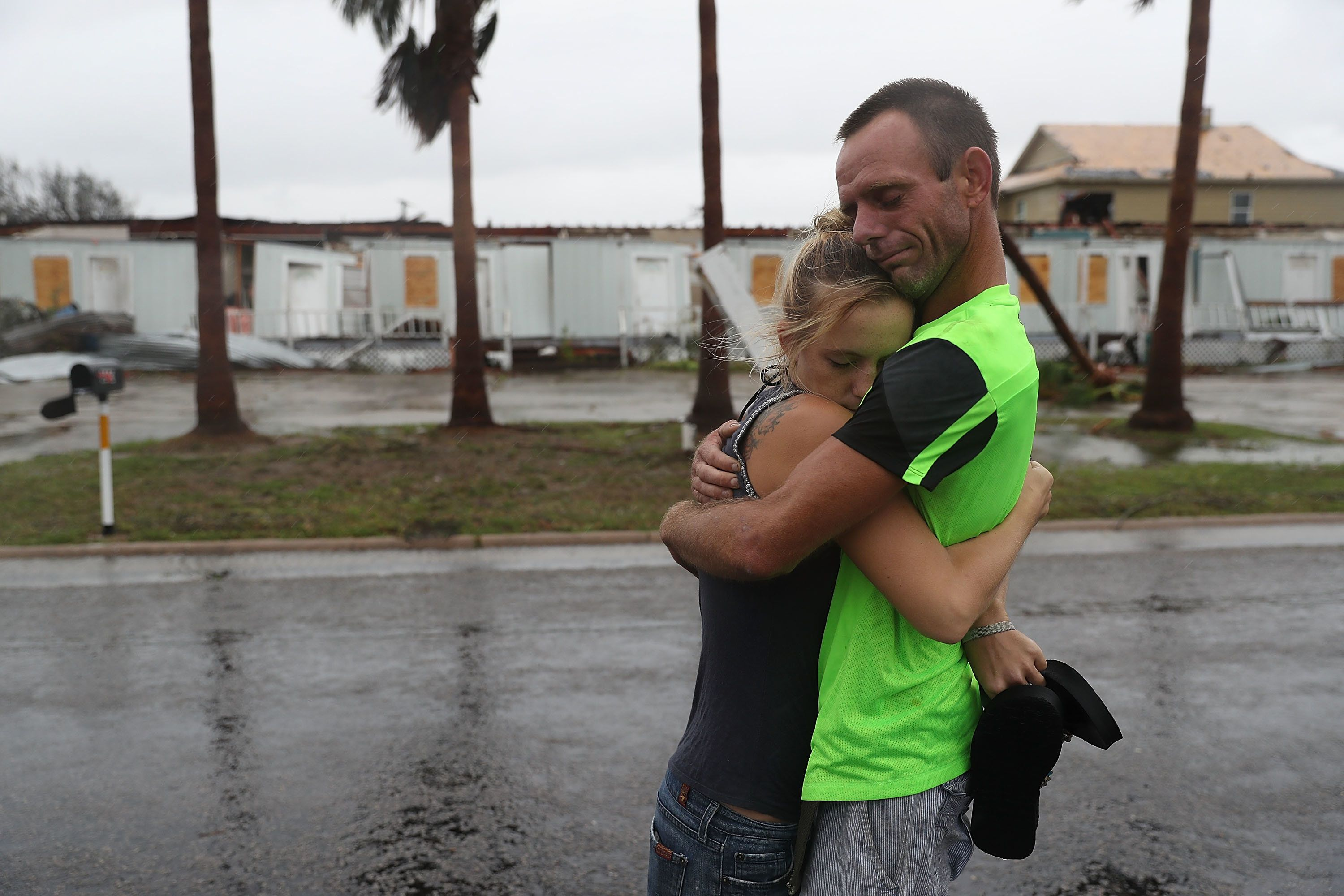 Jessica Campbell hugs Jonathan Fitzgerald after riding out Hurricane Harvey in an apartment in Rockport.