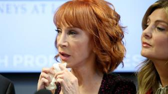 WOODLAND HILLS, CA - JUNE 02:  Kathy Griffin (L) and her attorney Lisa Bloom speak during a press conference at The Bloom Firm on June 2, 2017 in Woodland Hills, California.  Griffin is holding the press conference after a controversial photoshoot where she was holding a bloodied mask depicting President Donald Trump and to address alleged bullying by the Trump family.  (Photo by Frederick M. Brown/Getty Images)