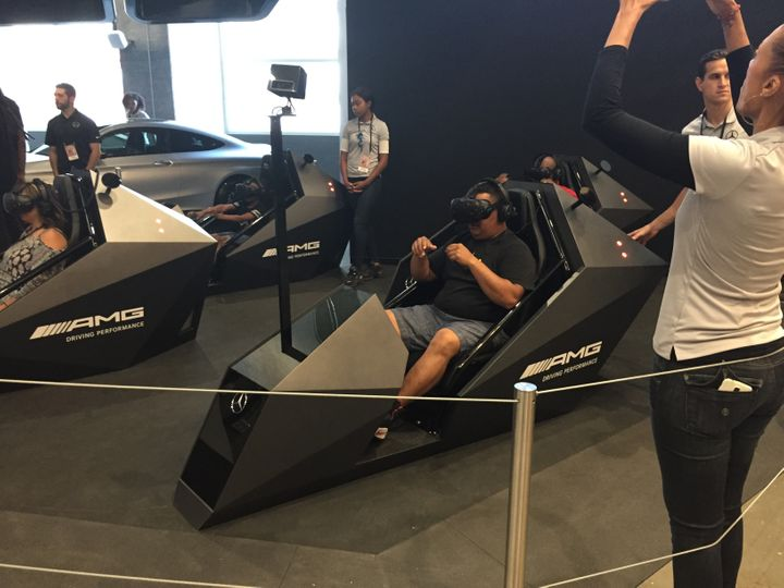 The virtual reality driving experience inside Mercedes Benz Stadium