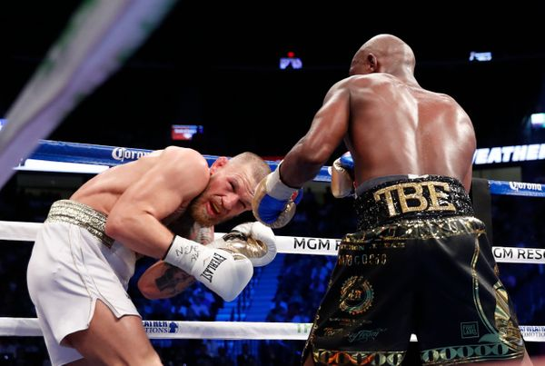 Boxing - Floyd Mayweather Jr. vs Conor McGregor - Las Vegas, USA - August 26, 2017  Floyd Mayweather Jr. in action with Conor