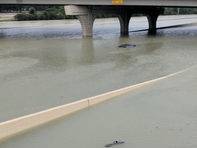 A submerged car in Katy, Texas, just west of