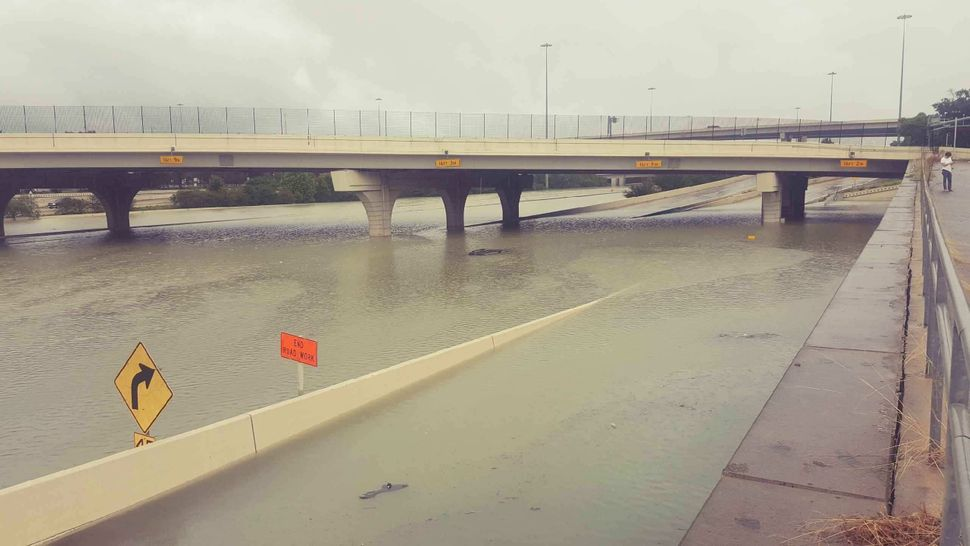 Flooding on Interstate 10 outside of Houston.