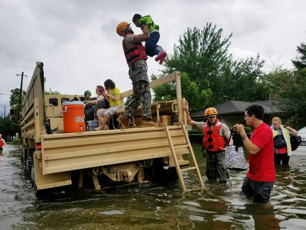 Texas National Guard soldiers aid residents in heavily flooded areas in