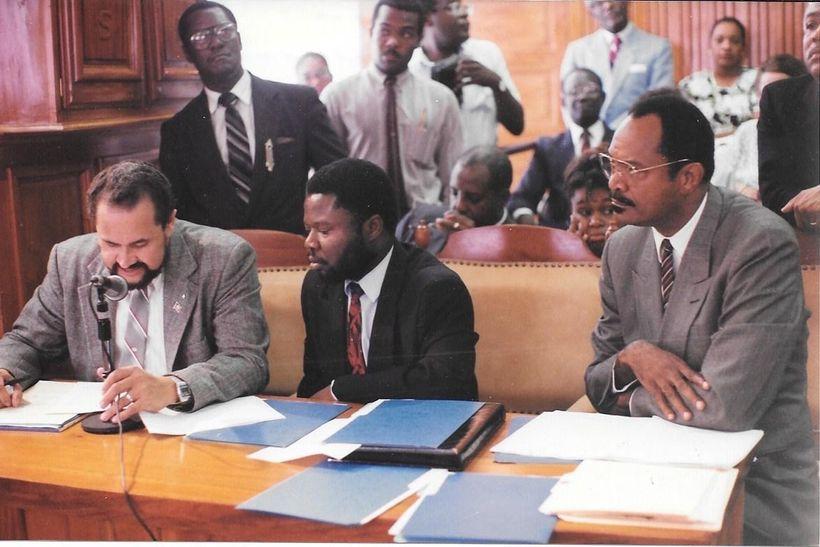 Senators Bernard Sansaricq, Amos Andre, and Thomas Eddie Dupiton (left to right) (circa 1990)