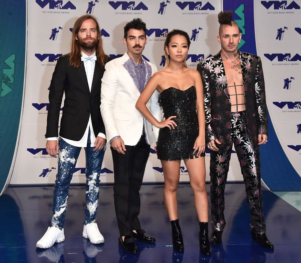 INGLEWOOD, CA - AUGUST 27: (L-R) Jack Lawless, Joe Jonas, JinJoo Lee and Cole Whittle of musical group DNCE attends the 2017