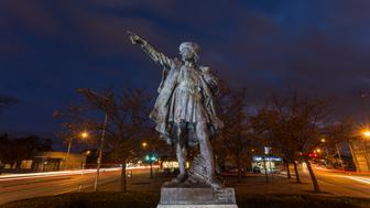 Bronze statue of Christopher Columbus, in Providence, Rhode Island. The statue was built in 1893 by Frederic Auguste Bartholdi.