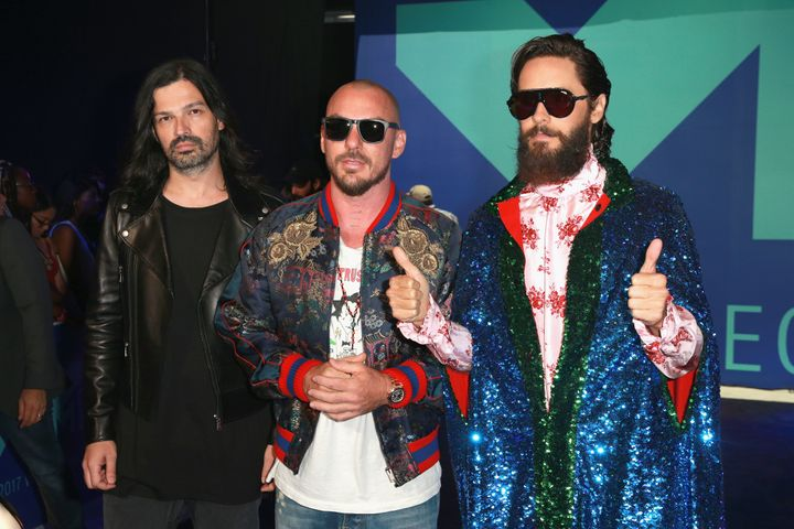 Tomo Milicevic, Shannon Leto and Jared Leto of music group Thirty Seconds to Mars attend the 2017 MTV Video Music Awards on Sunday night.