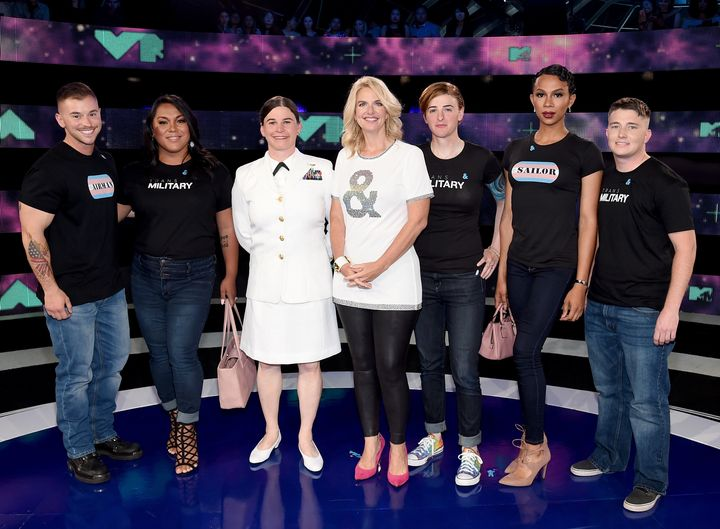 President of GLAAD Sarah Kate Ellis, center, with transgender members of the military at the VMAs: Sterling James Crutcher, L