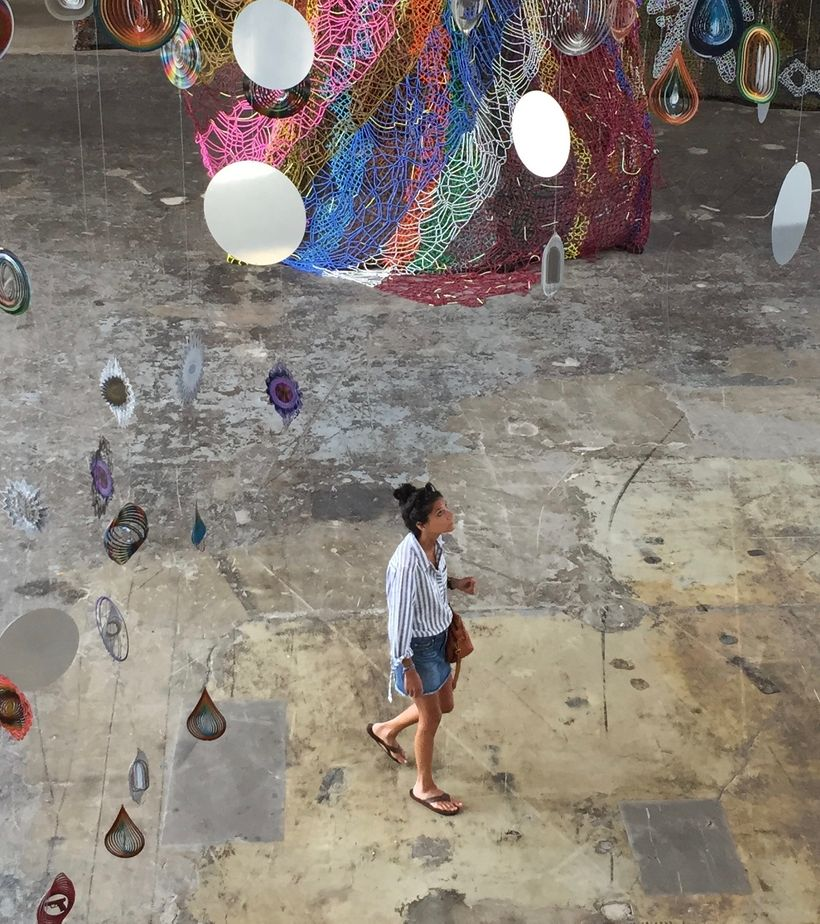 """Writer Lauren Daley at Nick Cave's """"Until"""" at Mass MOCA in North Adams, Mass."""