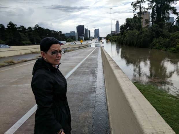 Rosanna Moreno looks over the flooded Buffalo Bayou on Interstate
