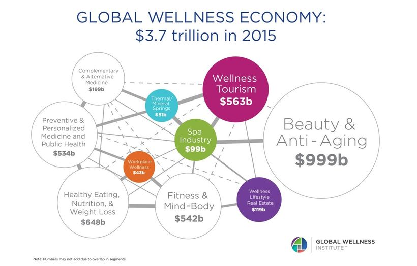 Graph displaying the size of the global wellness economy in 2015