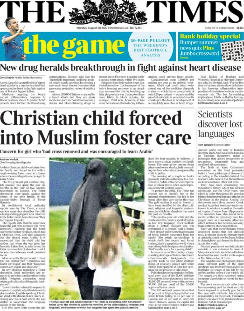 Girl 'Forced' To Live With Muslim Foster Family Story In The Times Sparks Divisive