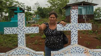 Francisca Ramirez visits her family cemetery in La Fonseca Nicaragua