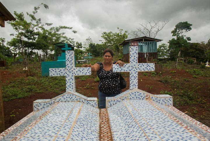 Francisca Ramirez visits her family cemetery in La Fonseca, Nicaragua. (Tom Laffay / Amnesty International)
