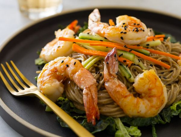 """<strong>Get the <a href=""""http://www.spoonforkbacon.com/2013/10/almond-butter-soba-noodles-with-garlic-shrimp/"""" target=""""_blank"""