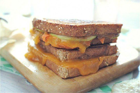 """<strong>Get the <a href=""""http://bevcooks.com/2012/08/grilled-almond-butter-cheese-sandwich/"""" target=""""_blank"""">Grilled Almond B"""