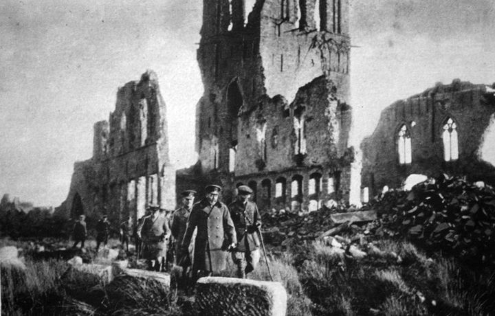 King George V in the ruins of Ypres, Belgium, in an undated photo.