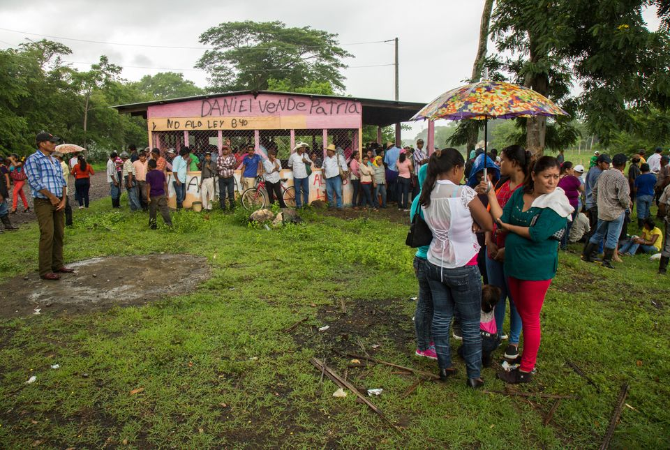 Protesters gather to oppose Law 840 and the negative impacts of the Nicaragua canal project.
