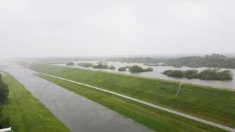 Barker Reservoir overflowing from floodwaters
