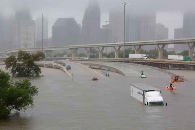 Interstate 45 near downtown Houston is submerged Sunday after a downpour from
