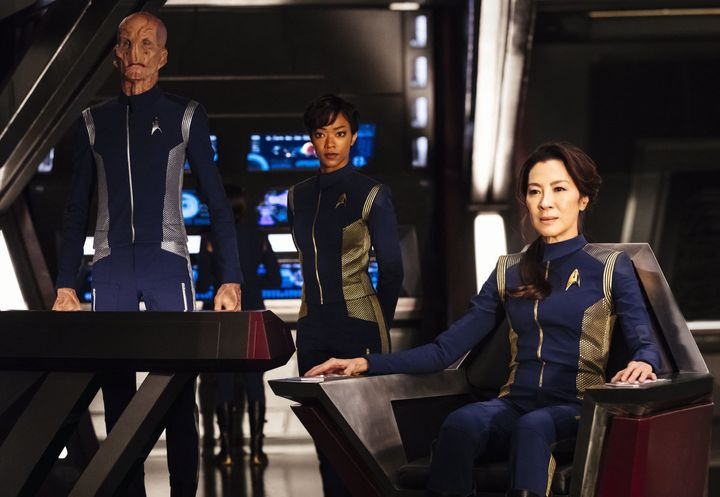 "Doug Jones, Sonequa Martin-Green and Michelle Yeoh in ""Star Trek: Discovery."""