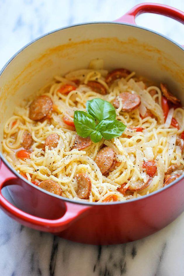 Get theOne Pot Andouille Sausage Pasta recipefrom Damn