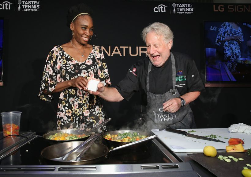 Chef Jonathan Waxman and tennis player Venus Williams give a cooking demonstration at Citi Taste Of Tennis at W New York on A