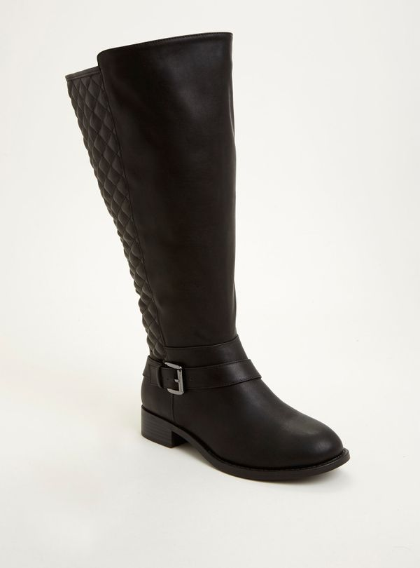 """<a href=""""http://www.torrid.com/product/quilted-side-zip-buckle-knee-high-boots-wide-width-wide-calf/10963125.html?cgid=shoes-"""