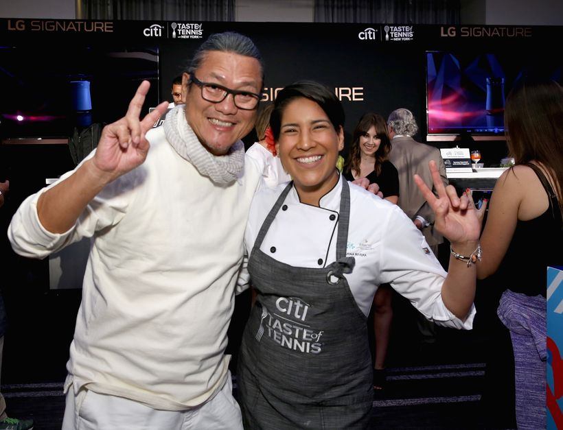 Chefs Masaharu Morimoto and Karina Rivera attend Citi Taste Of Tennis at W New York on August 24, 2017 in New York City.