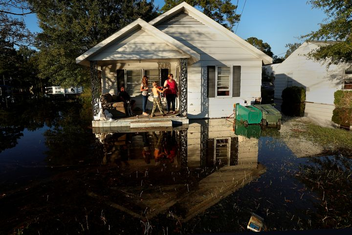 Lumberton, North Carolina, residents take refuge from Hurricane Matthew's floodwaters in October 2016. Less than 1 percent of