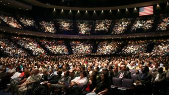 Service at Lakewood Church in Houston, where Pastor Joel Osteen preaches to some 25,000 people each week. There are currently 842 mega churches that host an excess of three million people on any given Sunday. Mega churches are loosely defined as non-Catholic churches with at least 2,000 weekly attendants. (Photo by Timothy Fadek/Corbis via Getty Images)