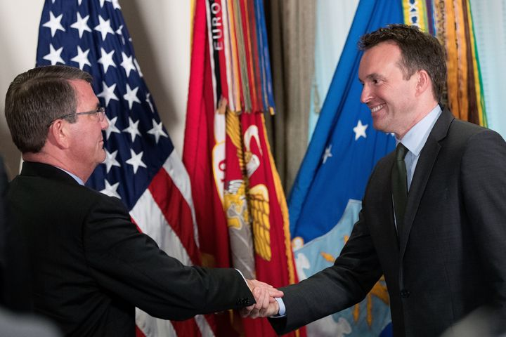 On May 18, 2016, Eric Fanning (right) was sworn in as the secretary of the Army by Defense Secretary Ash Carter.