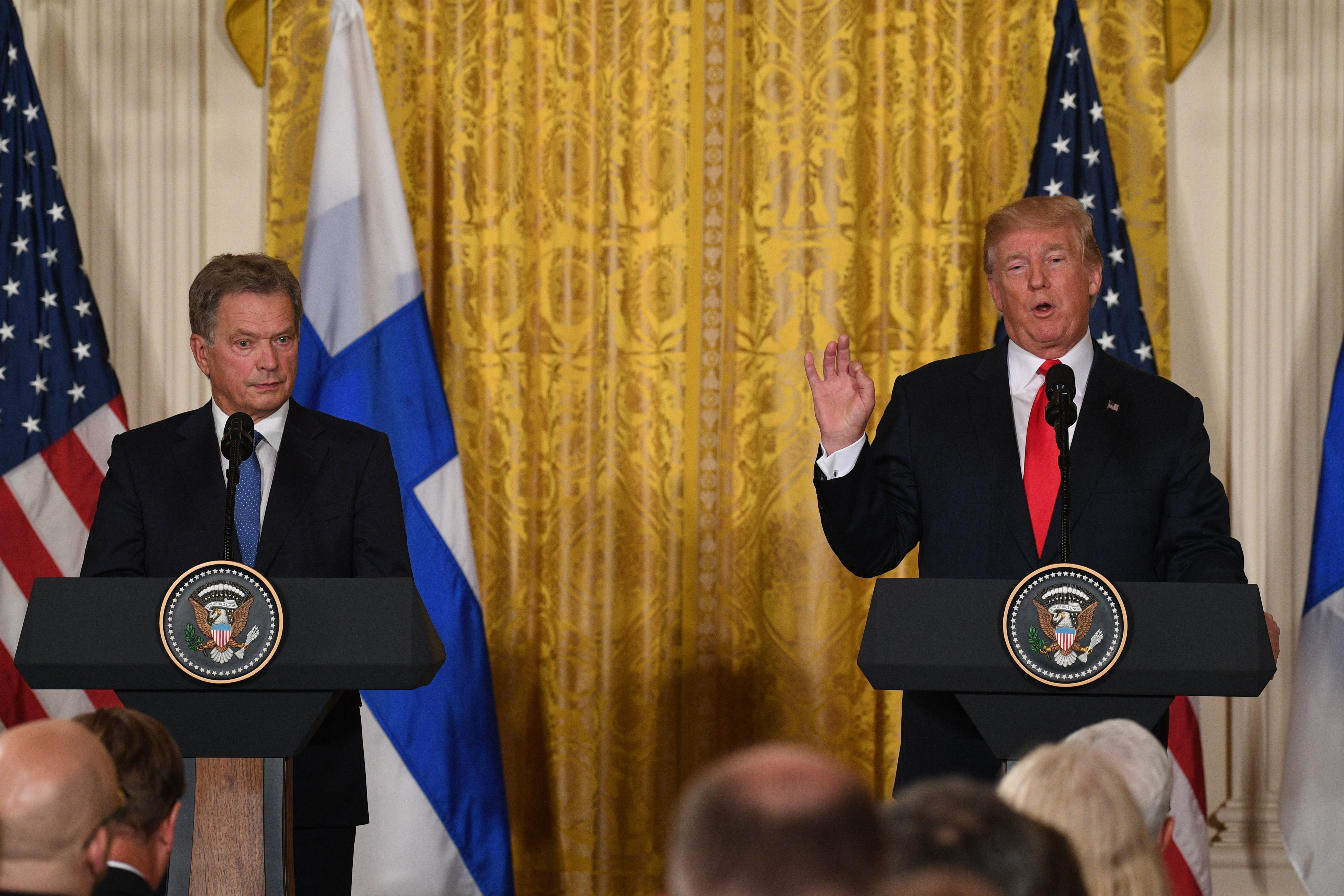 US President Donald Trump and Finnish President Sauli Niinistö hold a joint press conference on August 28, 2017, at the White House in Washington, DC. / AFP PHOTO / JIM WATSON        (Photo credit should read JIM WATSON/AFP/Getty Images)