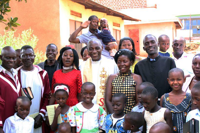 Canon Gideon Byamugisha, a founder of INERELA+, with his church congregation at the Bishop Samuel Chapel in Kampala, Uganda