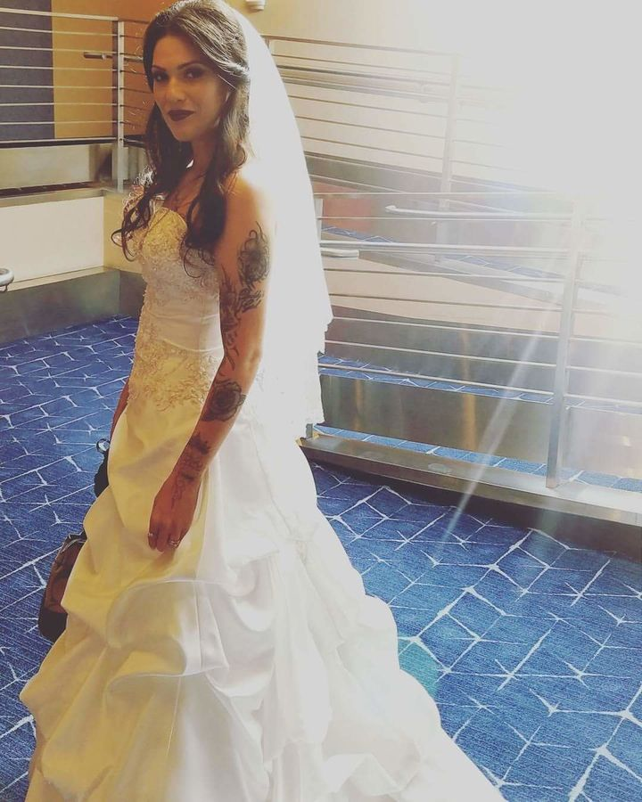 Arianna, who didn't get a traditional wedding experience the first time around, wore the dress to her vow renewal on Wednesda