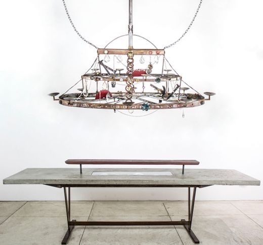"<em>""12 guests garden table"" by</em><strong>    </strong>Flavio Alejandro Bisciotti  Metal base concrete top, electrical fixt"