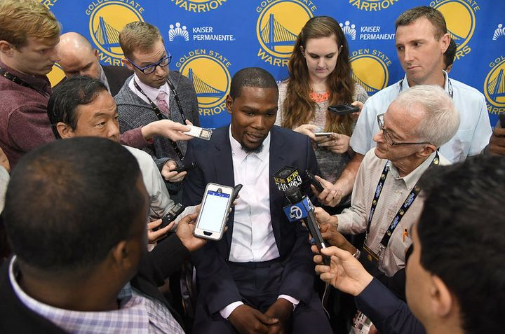 <p>NBA superstar Kevin Durant has had a contentious relationship with traditional sports media outlets throughout his playing career.</p>