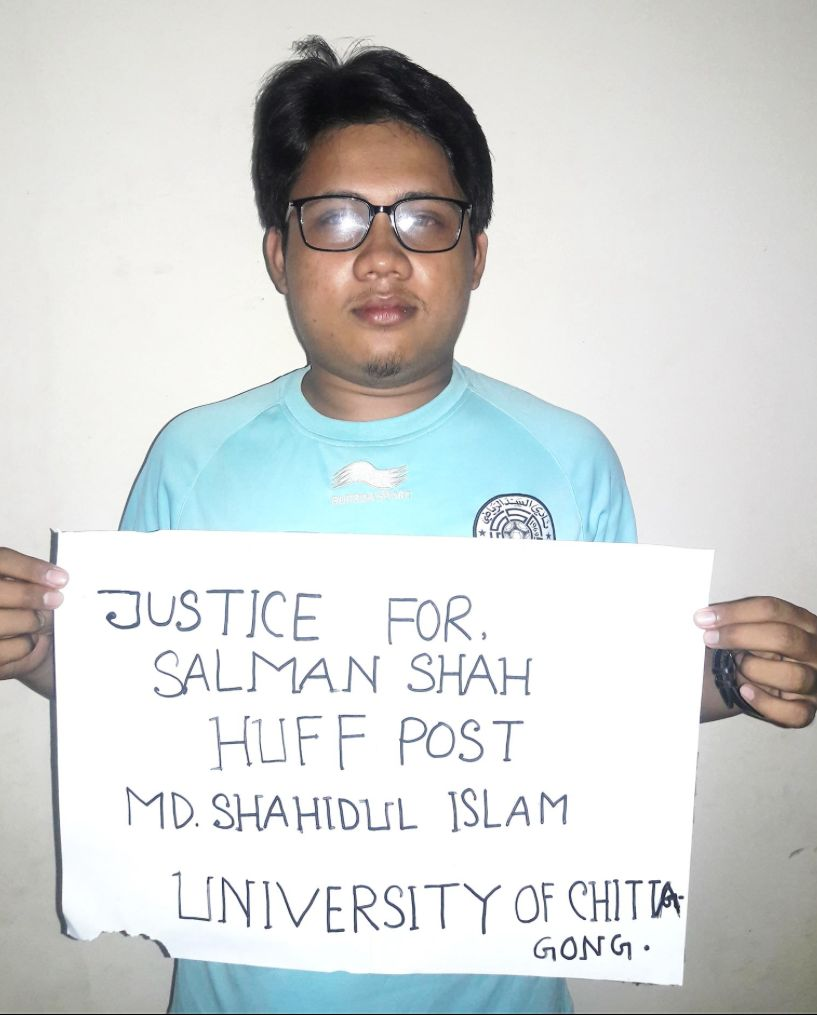 """Millions of youths in Bangladesh joined the protest to promote Huff Post article to secure """"Justice For Salman"""" includin"""