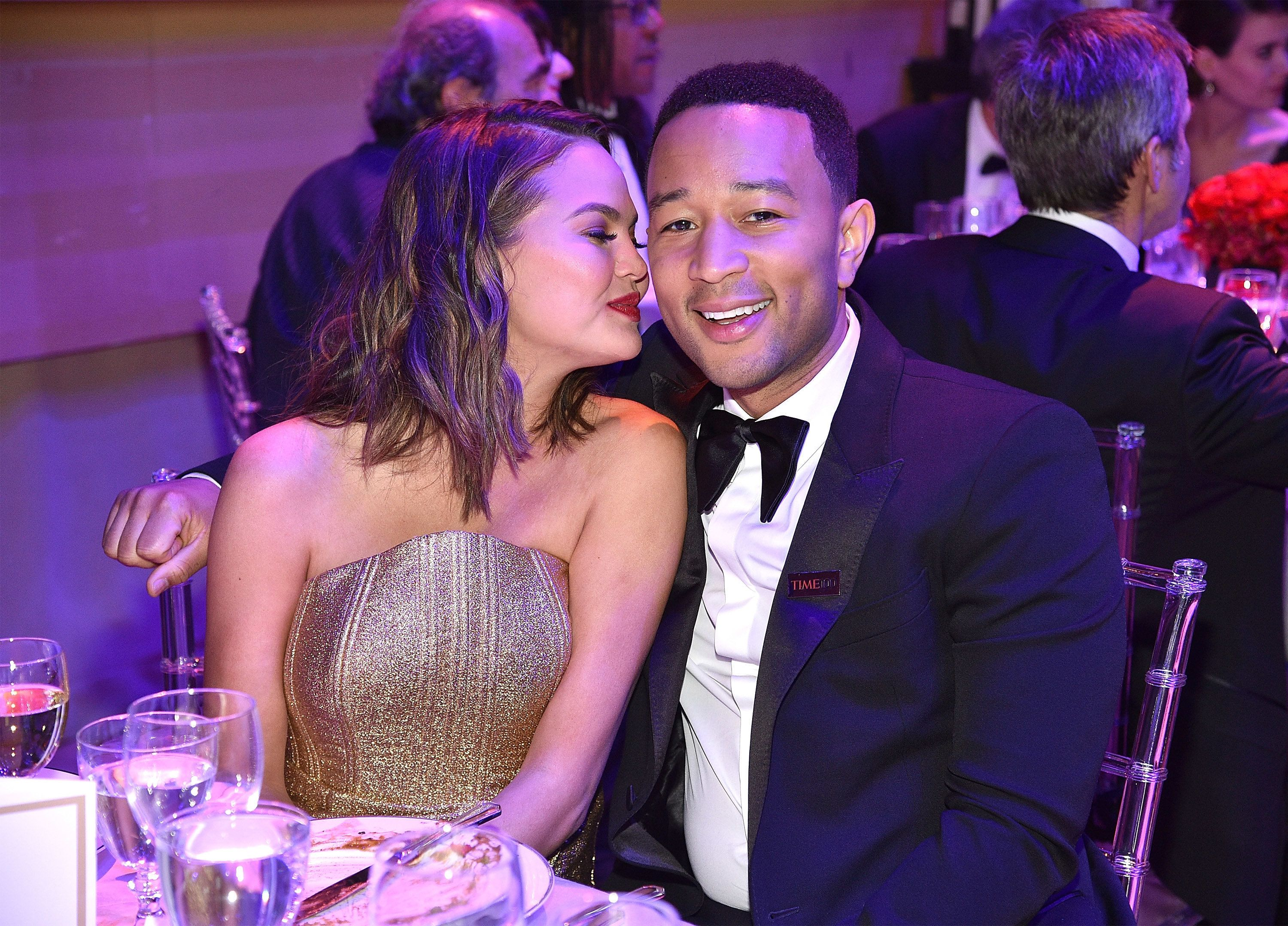 John Legend with his wife Chrissy Teigen at the Time 100 Gala on April 25, 2017.